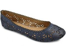 Greatonu Ladies Cute Flower Hollow Slip On Ballet Shoes Navy Size 5-10 US Flats
