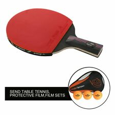 Carbon Fiber Table Tennis Racket Ping Pong Paddle Bat Long Short Handle W/ Bag X