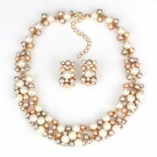 Imitation Pearl Crystal Necklace Stud Earring Jewelry Set For Women