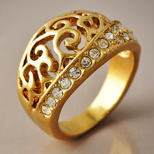 Hollow Out Patterned Womens/Mens Clear Crystal Rings Gold Filled SZ 6-8#