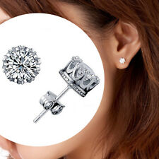 New Silver Crown Stud Fashion Clear Stud Earrings Earrings Plated Crystal