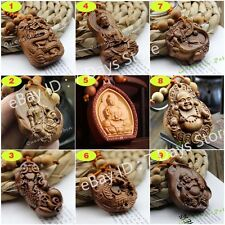 Chinese Wood Carving Feng Shui Buddha Kwan Yin Dragon Pixiu Pendant Key Chain