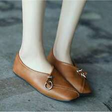 Fashion Women's PU Leather Comfort Square-Toe Casual Formal Flats Non-slip Shoes