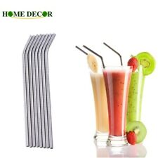 Reusable Bent Meatl Stainless Steel Drinking Straws With Cleaning Cleaner Brush