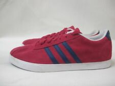 Mens Adidas VL Neo Court Suede Sport Shoes Lace Up Red Navy Trainers