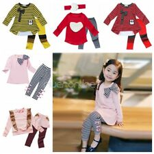 Girls Kid Baby Striped Outfit Long Sleeve Clothes 2PCS Top Dress + Legging Pants