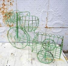 Wrought Iron Large Tricycle with 3 Decorative Baskets - Cute Metal Pot Holder