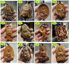 Wood Carving Chinese Feng Shui Buddha Kwan Yin Dragon Statue Car Pendant Hanger