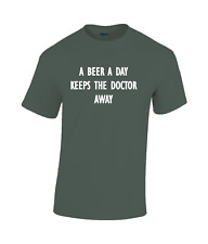 A Beer a Day keeps the doctor away Funny cotton T-shirt olive