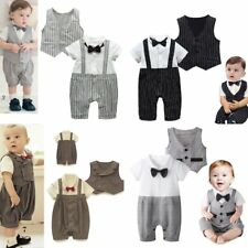 Baby Boy Wedding Christening Tuxedo Party Suit Outfit+Waistcoat Clothes Set