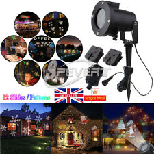 12 Slides Christmas LED Laser Projector Light In/Outdoor Garden Home Partry Lamp