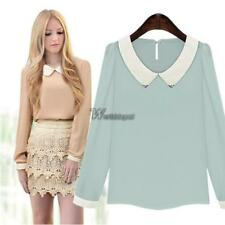 New Women Fashion Long Sleeve Doll Collar Casual Sweet Chiffon Top WT8801 02