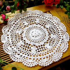 VINTAGE COTTON PLACEMAT HAND CROCHETED LACE DOILIES FLOWER TABLE COASTER GROOVY