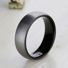 8mm Tungsten Carbide Ring Comfort Fit Wedding Band Men Black Brushed Jewelry