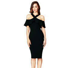 New Women Sexy Bandage Bodycon Ruffles Cocktail Party Slim Halter Formal Dress