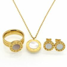 Women Fashion Stainless Steel Necklace+earrings+ring Jewelry Set