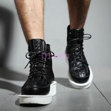 Mens Punk Goth Lace Up High Top Leather Motorcycle ANkle Boots Sneakers Vintage