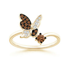 Brown White Diamond Butterfly Wedding Ring 14k Yellow Gold Size 3-13