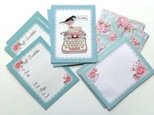 Party Invite Pack 5 Cards and 5 Envelopes Birthday Anniversary Vintage Tea Party