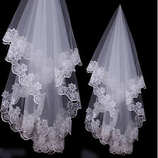 2017 New 1T White Ivory handmade Cathedral Length Lace Edge Wedding Bridal Veil