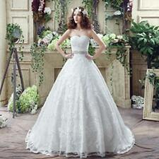 Luxury Appliques Crystals Wedding Dress Lace Strapless Bridal Gowns US Size4-16