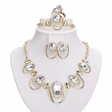 Gold Color Plated Necklace Bracelet Earring Ring Jewelry Set For Women