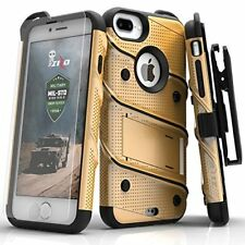 iPhone 8 Plus Perfect Fit Case Cover w/Screen Protector Kickstand Belt Clip Gold