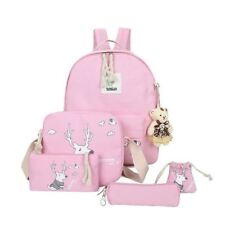 New Arrival 5 In 1 Candy Color Canvas Backpack Set For Kids School