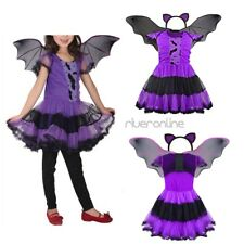 3pcs Girls Halloween Bat Princess Fancy Dress Cosplay Costume Sets Purple Party