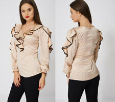 Neutral Nude Peach with Black Polka Dot Print and Frill Ruffle Blouse