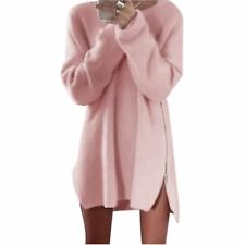 Womens Long Sleeve Side Zipper Loose Casual Tunic Knit Pullover Sweater Dress