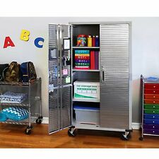 Storage Cabinet 4 Shelves Garage Office Kitchen Pantry Laundry Room Rolling Tall