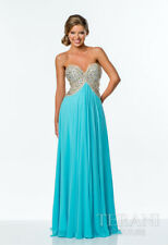 TERANI COUTURE Strapless Sweetheart Beaded Formal Prom Gown Aqua Nude151P0026A