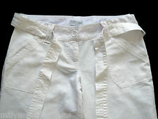 New Womens NEXT Maternity White Linen Crop Trousers Size 10 8