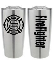 Maltese Cross Custom Personalized Firefighter Text 2 Pieces Vinyl Decal Sticker
