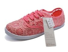 GIRLS KIDS CHILDRENS PINK LACE-UP PLIMSOLL PUMPS CASUAL TRAINER SHOES SIZES 1-5