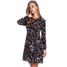 Women Casual Long Sleeve Print O Neck Pullover Tunic Dress WT88