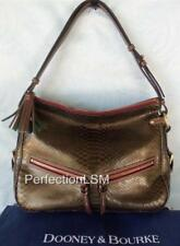 NWT DOONEY & BOURKE Pearly Python Embossed East/West Zip Sac Brown T-Moro 8P997!