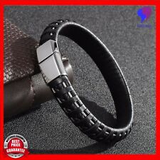 Mens Fashion Black Genuine Leather Stainless Steel Charm Bracelet Bangle