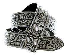 Western Embossed BLACK Leather Belt Strap - w/ Snaps for Interchangeable Buckles