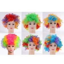 Rainbow Afro Wig Circus Clown Costume Halloween Party Curly Hair Wig Adult Kids