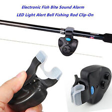 Black Electronic LED Light Fish Bite Sound Alarm Bell Clip On Fishing Rod New RX