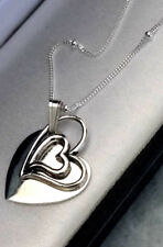 925 Sterling Silver Ladies Double Heart Necklace Personalised Engraved Gift Box