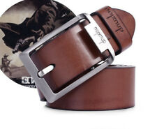Fashion Mens Leather Single Prong Belt Business Casual Dress Metal Buckle 2017
