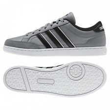 Mens Adidas VL Set Grey Black White Trainers Lace Up Casual Leather Shoes
