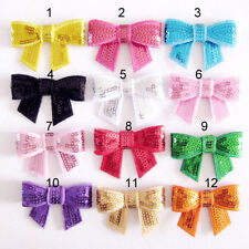 Baby Toddler Girl Boutique Sequin Bow with Metal Teeth Hair Clip 2 pack