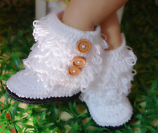 HANDMADE Newborn Baby Crochet Knit ×Loop de Booties× Boots Shoes 0-6 months