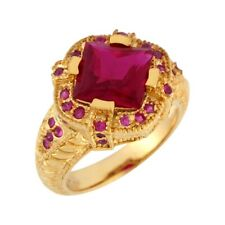 10k or 14k Yellow Gold Simulated Ruby Exquisite Detailed Band Design Ladies Ring