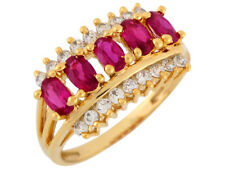 10k or 14k Yellow Gold Simulated Ruby White CZ Contemporary Ladies Band Ring