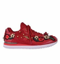 DOLCE & GABBANA Floral Ladies Sneaker Trainers NIGERIA Embroidery Red 05876